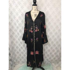 Zara TRAFALUC Floral Embroidered Kimono Cardigan